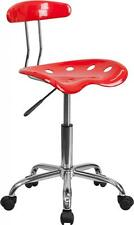 Flash Furniture Vibrant Red & Chrome Computer Task Chair w/Tractor Seat Chair