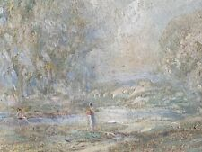 More details for women by a river bank impressionist french school oil on card c1900