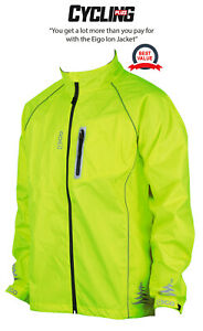 NEW EIGO MENS WATERPROOF WINDPROOF BREATHABLE HI-VIS YELLOW CYCLING CYCLE JACKET
