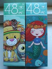 Lot of 2 New 48 Piece Jigsaw Puzzles Mermaid~Animals Owl Lion Great for kids!