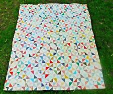 LARGE VINTAGE BOWTIE PATCHWORK QUILT PINK FLANNEL BACK 80.5 by 69.5 inches