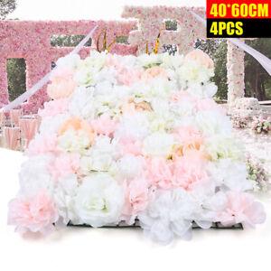 4x Künstliche Blumenwand Rosenwand DIY Hochzeit Straße Hintergrund Floral Dekor