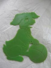 Vintage Used 1970s Green Plastic Stencil: Dog with Ball: Made in Hong Kong