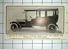 New Design Motor Car D Fronted Limousine To Seat 7 Passengers 1909 News Clipping