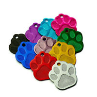 Wholesale 100PCS PAW TAG For Dog Pet ID Tags Anodized Aluminum Blank Name Tags