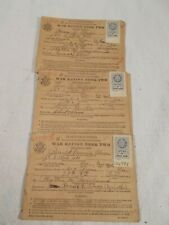 3 War Ration Stamp Books World War 2 Food Ration Stamps (Front and back covers)