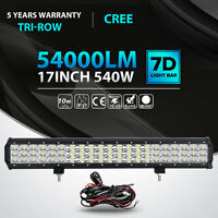 """Tri-row CREE 17inch 540W LED Light Bar Combo Offroad Driving 4WD Truck ATV 18"""""""