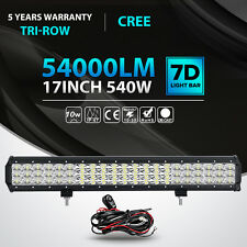 Tri-row CREE 17inch 540W LED Light Bar Combo Offroad Driving 4WD Truck ATV 18""
