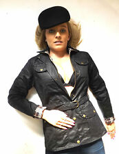 New Black Brown Wax Belted Studded Fitted Motorcycle Jacket Coat 8 10 12 14 16