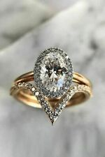 2.30Ct Oval Cut Real Moissanite Engagement Ring with 14K Yellow Gold