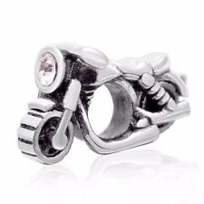 Motorbike 925 Sterling Silver Charm Bead With Cubic Zirconia Stone