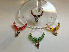 fall/autumn leaves/leaf wine glass charms set of 4