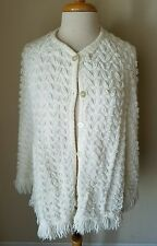 Women's Cream Knit Button Up Cape Poncho Sweater Fringe One Size