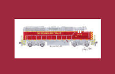 """New Orleans & Gulf Coast GP38-3 11""""x17"""" Matted Print Andy Fletcher signed"""