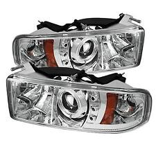94-02 DODGE RAM 2500/3500 SPYDER CROME PROJECTOR HEADLIGHTS W/ LED HALO.