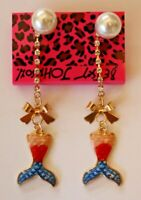 Betsey Johnson Crystal Rhinestone Enamel Pearl Fish Tail Post Earrings