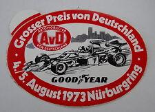 Aufkleber AvD F1 GP Deutschland NÜRBURGRING 1973 Nordschleife Oldtimer Sticker