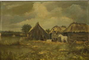 ANTIQUE OIL PAINTING ON CANVAS HORSE COW FIELD SIGNED MONOGRAM & DATED 1881
