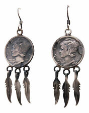 Navajo Native American Mercury Head Dime and Silver Feather Earrings SKU#232435