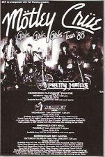 "MOTLEY CRUE Girls Girls Girls Tour UK magazine ADVERT / mini Poster 5x4"""