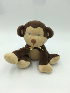 Prestige Baby Brown Tan Yellow Ribbon Bow Blue Eyes Plush Monkey Lovey