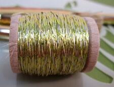 Vintage Yellow w/ white Metallic Tinsel  Fly Tying  Weave Knit