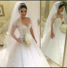 UK Plus Size White/ivory Cap Sleeve Wedding Dress Bridal Gown  Size 6-22