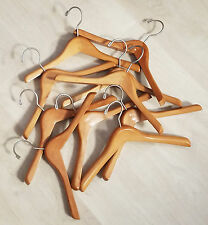 """Lot of 10 Sweater/Blazer WOOD CLOTHES HANGERS, 14"""" long x 1"""" thick, Child-Size"""