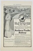 1909 Northern Pacific Railway Train Woman Hat Dress Art Advertising Print Ad