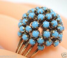 Antique Vintage Persian Turquoise Ring 18K Yellow Gold Ring Size 6.5 UK-M1/2