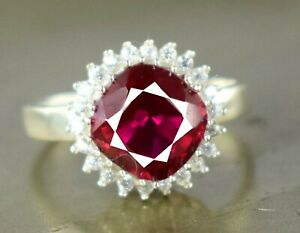 Cushion Burma Ruby 925 Silver Ring 5.23 Ct Natural Certified Anniversary Gift