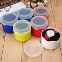 6 Colors Plastic Single Watch Case Watch Round Box Travel Storage With Pillow G