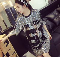 Sequins glitter women loose fit shirt numbers printed korean casual short sleeve