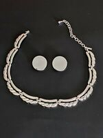Vintage Signed Monet Silver tone Necklace & Clip Earrings Beautiful!