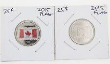 Canada 25 Cent Quarter Collection - UNC (2) 2015 Canada Flag Color and Non Color