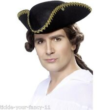 Fancy Dress OLD ENGLAND DICK TURPIN Tricorn Hat Black Deluxe Highwayman PIRATA