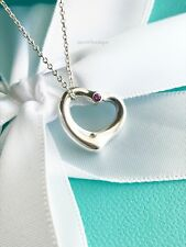 "AUTHENTIC Tiffany & Co. Pink Sapphire Open Heart Necklace 16"" #F7"