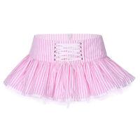 Damen Gestreift Minirock mit Schnürung Niedrige Taille Sexy Plissee Rock mit Zip