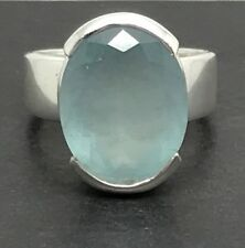 aquamarine faceted oval ring, solid Sterling Silver, uk size N, natural, new.