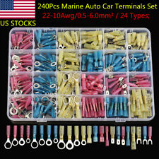 240Pcs Assortment Ring Spade Insulated Heat Shrink Connectors Terminals 10-22AWG