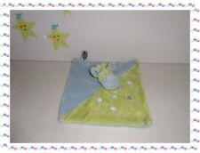 V - Doudou Semi Plat  Girafe Verte Bleu Taches  Mots d'Enfants