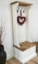 RUSTIC PAINTED HALLWAY SETTLE SEAT / BENCH WITH COAT RACK / HOOKS / SHOE STORE