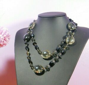 Women long Necklace Black Faceted frosted pebble beads Evening costume Jewellery