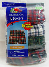 Boys Boxers Underwear Fruit of the Loom Pack of 4 Tartan Plaids Size Small 6-8