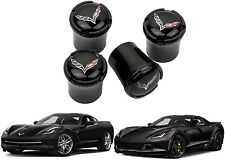 4 Pack Black C7 Corvette Logo Valve Stem Caps Wheel Tire New Free Shipping USA