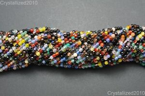 Natural Gemstones 2mm 3mm Faceted Round Spacer Loose Beads 15.5'' Jewelry Design