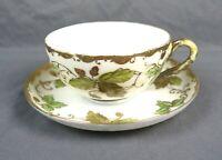 Antique Hand Painted TN Nippon Oak Leaf Acorn Tea Cup & Saucer