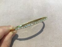 3.0 Carat Diamond Brilliant Round Cut Bangle Bracelet 7.5 Inch Gold Finish