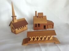 Vtg Village Fairfax VT Covered Bridge Saw Mill Church Wooden Replica Miniature