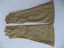 """Cornelia James long (12 1/2"""") taupe cotton hand stitched gloves. Size 6 1/2 (#5)"""
